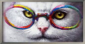 【10P05Nov16】【10P】【オイルペイント】犬猫 絵画ペットの絵 『俺様のメガネ』サイズL:縦53cm×横103cm×厚さ3.0cm 【額付】【かべ 壁飾り】壁掛け 子供 部屋