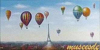 油畫在畫布上繪畫寵物 '埃菲爾鐵塔和熱氣球' 尺寸 l: 53 釐米 x 103 釐米 x 3.0 釐米厚的牆上掛上孩子們的房間
