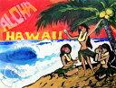 """ハワイのサーフアート絵画 Aloha Hula Girls (8"""" x 10"""") by ドリュー・トゥーンズ【Drew Toonz】"""