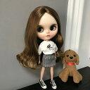 ブライス blythe 子犬Tシャツ&千鳥格子ミニスカート 二点セット 人形 ネオブライス 服 BJD 球体関節人形