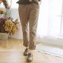 【040002】刺繍 レース 2way 起毛 コットン ロング バギー パンツ