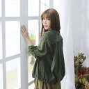 【040017】長袖 刺繍 レース 起毛 コットン ブラウス