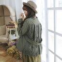 【040032】長袖 刺繍 レース コットン ロング コート