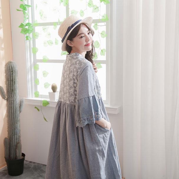 【045016】 2in1 7分袖 刺繍 レース リネン ロング ワンピース