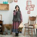 【061002】 刺繍 レース ウール コットン キルティング ベスト パーカー