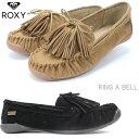 ロキシー モカシン レディースROXY RING A BELL RFT194405ファー モカシンシューズ パンプス ファー ぺたんこ モカシン ファー フラットシューズ かわいい ローヒール 軽い 靴 軽量 ふわふわ 秋 冬 黒 ブラック モカ ベージュ 女性