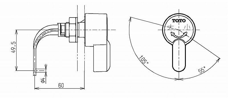 TOTO TS670CMN型用レバーハンドル部...の紹介画像2