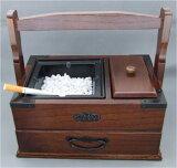 手提げ付き 煙草盆(たばこぼん) 粋灰皿(大) 和風卓上灰皿 煙管(キセル)&たばこ用