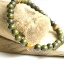 ショッピング木製 緑檀 タイガーアイ トライアングル ブレスレット / 木製 木 ウッド 数珠 腕輪 念珠 緑 りょくだん 天然石 パワーストーン ピラミッド