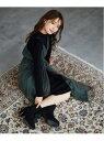 [Rakuten Fashion]ツインOPニットxチュールキャミ mysty woman ミスティウーマン ワンピース ワンピースその他 グリーン ベージュ ブラウン【送料無料】