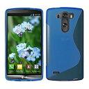 LG G3 Beat TPU グリップカバーケース [ エルジー ジースリー ビート UQ Mobile LG-D722J SIMフリー 対応 ] 薄型軽量19g / 滑止め加工 / ソフトフィットモデル / 半透明クリア【MY WAY 出品カラー全5色:簡易防水パッケージ】 (LG G3 Beat, Design S Blue (青))