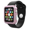 Apple Watch 軽い1グラム PCハードケース [ 2015年発売 アップルウォッチ 対応 ] ベルトを付けたままでも脱着可能なワンタッチタイプ 光沢メタリックデザイン Metallic Design Cover Case【改良版】 (42mm, Pink Gold (ピンク))