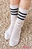 ルーズ風3本ラインソックス (全4色) レディース (おまかせ配送の場合、パッケージを取り外して梱包します) ♪ ( 靴下 おしゃれ かわいい ルーズソックス loose socks ladies )-ZB