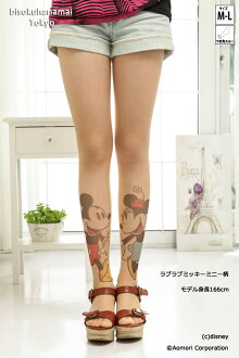 ラブラブミッキーミニー pattern! with purchase at select ♪ pattern tights pattern pantyhose sheer tights-Japan tattoo stockings tights Womens tattoo stocking tattoo tights ladies mickey mouse 30 anniversary ♪-z fs3gm