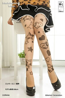 キラキラハートミッキーミニー pattern! with purchase at select ♪ pattern tights pattern pantyhose sheer tights-Japan tattoo stockings tights Womens tattoo stocking tights ladies mickey mouse 30 anniversary ♪-z fs3gm