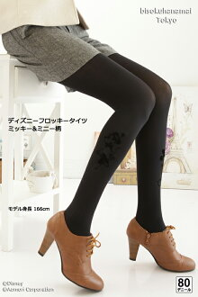 ディズニーフロッキー tights ( Mickey & Minnie design) ( 80 denier )! with purchase at select ♪ pattern tights pattern stocking stockings tights ladies stocking tights ladies 30 anniversary ♪-z fs2gm