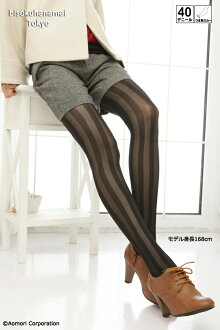 Striped tights ( 40 denier, Black Black, made in Japan ) ♪ 1050 yen buying and selection in ♪ pattern pantyhose sheer tights tights stockings pattern ladies stocking tights ladies!-z fs2gm