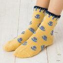 ハンドメイド ロークルーソックス マシュマロ花柄 履き口ハマグリ (22-25cm) 靴下 レディース