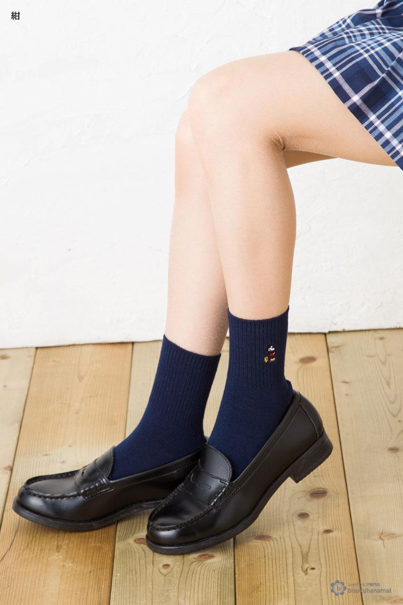 ミッキーワンポイント クルーソックス 14cm丈 ( 紺 白 )(23-25cm) スクールソックス ディズニー レディース mickey mouse disney socks ladies