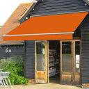 オーニングテント 幅2m×張出1.5m 橙/オレンジ 白フレーム 折り畳み 伸縮