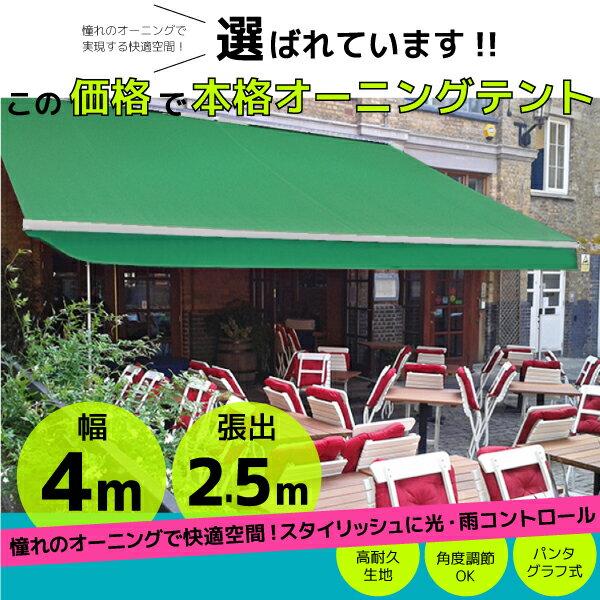オーニングテント 幅4m×張出2.5m 緑/モス...の商品画像