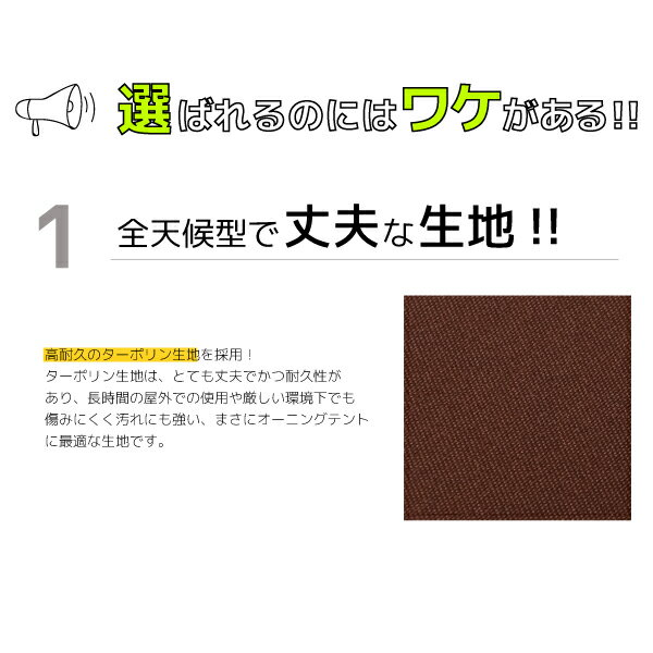 オーニングテント 幅4m×張出2.5m 緑/モ...の紹介画像3