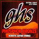 GHS Phosphor Bronze弦は、銅とスズ、リンの合金(リン青銅)を6角コアに巻いた丈夫な弦です。このコンビネーションはリッチでブライトなトーンを長持ちさせてくれます。この巻き弦は不快なオーバートーンを発することなくブライトなトーンを生み出してくれます。Copper-Tin-Phosphor AlloyGAUGE GUIDES315 [E:.011/B:.014/G:B22/D:B30/A:B38/E:B50]S325 [E:.012/B:.016/G:B24/D:B32/A:B42/E:B54]TM335 [E:.013/B:.017/G:B24/D:B32/A:B42/E:B56]S335 [E:.013/B:.017/G:B26/D:B36/A:B46/E:B56]>