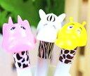 DCMR 文具 ボールペン 【 3本 】キリン シマウマ カバ 3D トイ ボールペン ポップ カラー スタイル キャラクター
