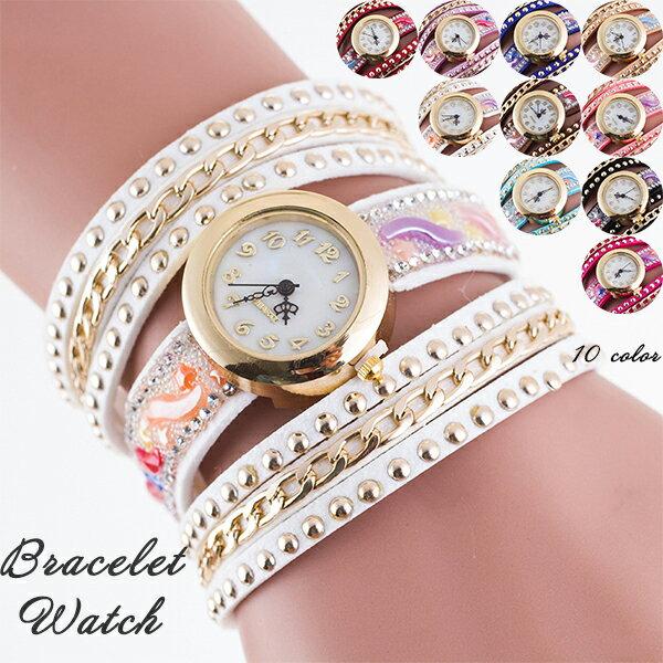 メール便のみ送料無料1ラップブレスタイプブレスレット腕時計
