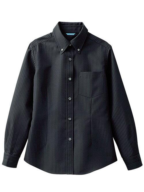 レディスボタンダウンシャツ 女性用 [長袖] 黒 《blanchi》アルベ chi-bc-6920-10