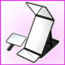 ■特別セール■売れてます!卓上縦型三面鏡ヘアカラーミラー YHC-5000(ブラック) ハンドミラー付き♪360度ヘアメイク・アイメイクチェック 鏡 卓上
