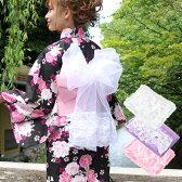 ふんわり3段レースぷち兵児帯〔heko〕大人 子供 浴衣 ピンク 紫 白 ゆかた帯 オーガンジー シフォン オーガンジー兵児帯