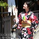 浴衣 レトロ レディース セット 染色&生地が日本製 高級変わり織り綿浴衣3点セット 「黒と赤の染め分けにレトロ梅」 浴衣 赤 黒 梅