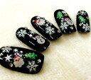 【ネイルシール】bibideco®クリスマスネイル☆サンタ&雪の結晶[bi-29W/bi-30W]