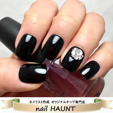 ☆★シンプルブラックビジュー★☆クールなブラックカラーに薬指にのみシャイニークリスタルビジュー♪上品モードなポイントジュエリーネイルau
