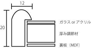 【キズ有り品】デッサン額縁 J型/チーク 大衣...の紹介画像3