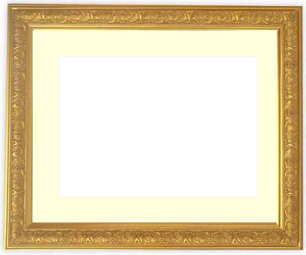 水彩額 シャイン/ゴールド 水彩F8(455×380mm)専用 ☆前面ガラス仕様☆マット付き【絵画/壁掛け/インテリア/玄関/アートフレーム】