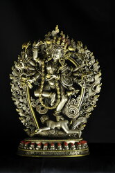 ダーキニー(荼吉尼天)銀製鍍金彫金仕上げ 銀製 鍍金彫金仕上げ:仏像仏画チベット美術卸の天竺堂