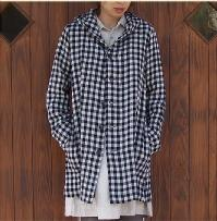 PRIT wool cotton linen gingham hood coat * * saleout10P02jun13