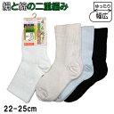 絹と綿の二重編み 幅広ソックス・婦人用【22〜25cm】【日本製】
