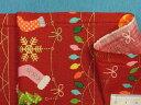 綿プリント生地クリスマス・赤×オレンジ×グリン