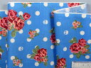 在庫処分・大幅値下げ綿プリント生地花とドクロの水玉ブルー