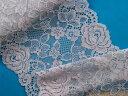ストレッチレース薄グレー×ピンク(16.6cm幅 3m巻)