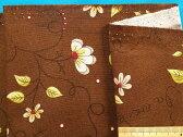 綿プリント生地(やや厚)花・茶×キミドリ