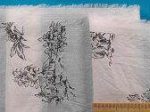 綿ローンプリント生地(シワ加工)オフ白×黒×ラメ