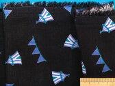 綿ダブルガーゼ生地サーカス・黒×青紫