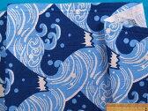 綿和柄プリント生地(やや厚)富士山・水色×ブルー系