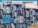 綿プリント生地車とバス・濃ブルー×ブルー系