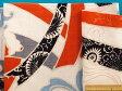 綿和柄プリント生地(やや厚)白×朱赤×黒