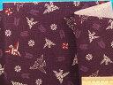 綿和柄プリント生地折り鶴 紫×渋赤